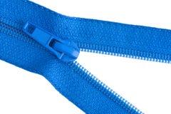 Blue sewing zipper Stock Photos