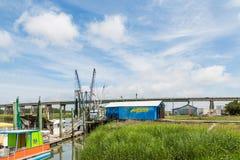 Blue Shack by Shrimp Boats royalty free stock photo