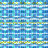 Blue shade and white plaid with yellow diamond shape striped kni. Tting pattern background vector illustration image Royalty Free Stock Photo