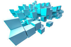 Blue shaded cubes Stock Photos
