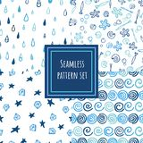 Blue shades seamless pattern collection. vector illustration