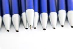 Blue shaft blue ballpoint pens Royalty Free Stock Photo