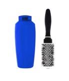 Blue shampoo bottle and hairbrush isolated on white Royalty Free Stock Image