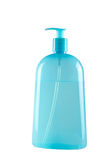 Blue shampoo bottle with pump Royalty Free Stock Images