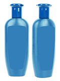 Blue shampoo bottles Stock Image