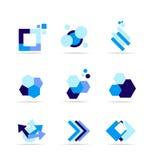 Blue shape logo icon set Stock Image