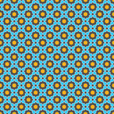 Blue shapes grid with orange elements. Seamless geometric background. Modern 3D texture. Pattern with realistic shadow and cut out of paper effect.Blue shapes Royalty Free Stock Image