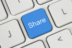 Blue share keyboard button Stock Image