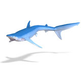Blue shark. 3D render with clipping path and shadow over white Stock Photos