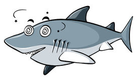 Blue shark with dizzy face Royalty Free Stock Photography