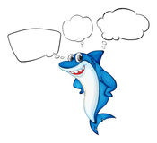 A blue shark with empty callouts. Illustration of a blue shark with empty callouts on a white background Stock Photography