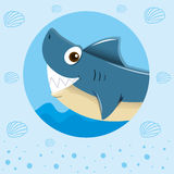 Blue shark with happy face. Illustration Stock Images