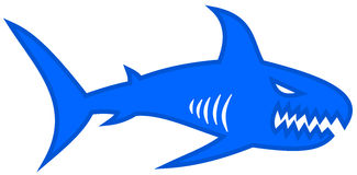 A blue shark with large jaw. Illustration Stock Photos
