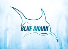 Blue shark vector logo with background vector illustration