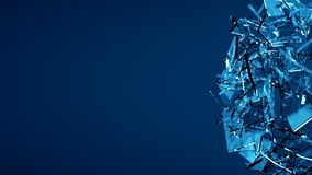 Blue shattered transparent glass explosion Royalty Free Stock Photography
