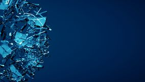 Blue shattered transparent glass explosion Stock Photos
