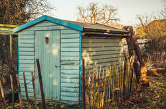 Blue shed in allotments Royalty Free Stock Photography