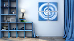 Blue shelf with vases, books and lamp Royalty Free Stock Images