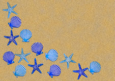 Blue Shell Border On Sand. Blue shell bathroom decoration border, on a background of sand royalty free stock photos
