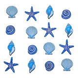 Blue shell pattern. A selection of blue sea shell bathroom decorations in a repeatable square pattern, isolated on white Stock Images