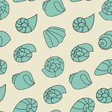 Blue shell pattern on the gray background. Shell seamless pattern on the gray background Stock Photography