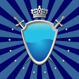 Blue Shield. Ornamental shield over striped background stock illustration