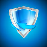 Blue shield with arrow Stock Image
