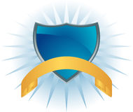 Blue Shield with Banner Royalty Free Stock Photo