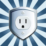 Blue shield electric outlet. Blue metallic shield emblem with electric outlet Royalty Free Stock Photography