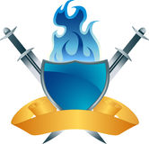 Blue Shield Fire Crest. 3D blue shield with swords and ribbon Stock Photo