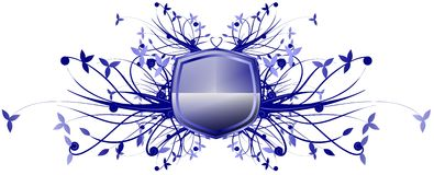 Blue shield with floral decoration isolated Royalty Free Stock Photography