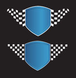 Blue shield with racing sign on the black Stock Photo