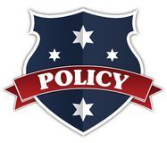 Blue shield and red ribbon with POLICY text. Illustration Stock Photo