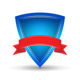 Blue shield with red ribbon on a  white background Royalty Free Stock Photo
