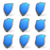 Blue shields on white set Stock Image