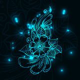 Blue shine flower. Abstract blue glowing mehndi flower. Vector EPS 10 Stock Photo