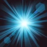 Blue shine with lens flare from darkness background. Vector illustration of Blue shine with lens flare from darkness background Stock Photos
