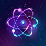 Blue Shining atom Abstract Technology dark background Royalty Free Stock Photo