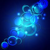 Blue shining background with  grunge circles Royalty Free Stock Photos