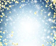 Blue shining background with stars. Blue Christmas shining background with yellow stars. Vector illustration Royalty Free Stock Images
