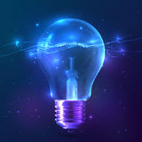 Blue shining bulb with lightning inside Royalty Free Stock Image
