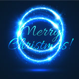 Blue shining circle of Christmas light card design Royalty Free Stock Images