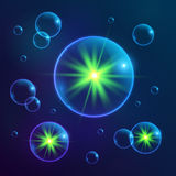 Blue shining cosmic bubbles with green lights Royalty Free Stock Images