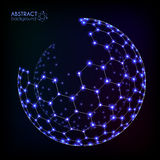 Blue shining cosmic hexagonal grid vector shining sphere. On dark background Royalty Free Stock Photo