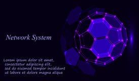 Blue shining cosmic hexagonal grid vector shining sphere on dark background royalty free illustration