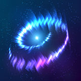Blue shining cosmic neon light twirl Royalty Free Stock Photos