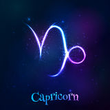 Blue shining cosmic neon zodiac symbol Royalty Free Stock Image