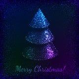 Blue shining glitter vector Christmas tree Stock Image