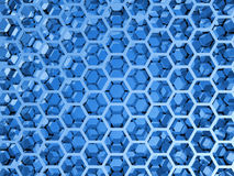 Blue shining honeycomb layers pattern. 3d illustration, background texture Royalty Free Stock Photos