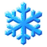 Blue shining snowflake crystal. Shining frosty vector snowflake crystal on white background Stock Images
